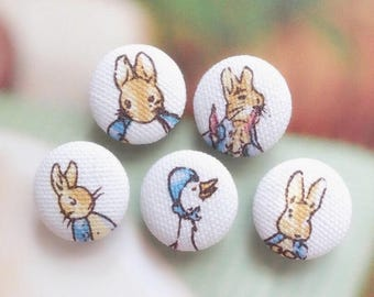 British Storybook Fairy Tale Forest Woods Peter Rabbit Bunny Mother Goose Friends-Handmade Fabric Covered Buttons(0.75/0.87 Inches, 5PCS)