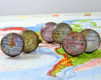 Custom Map Cufflinks, Antique Bronze, What is your special city or cities in the Heart