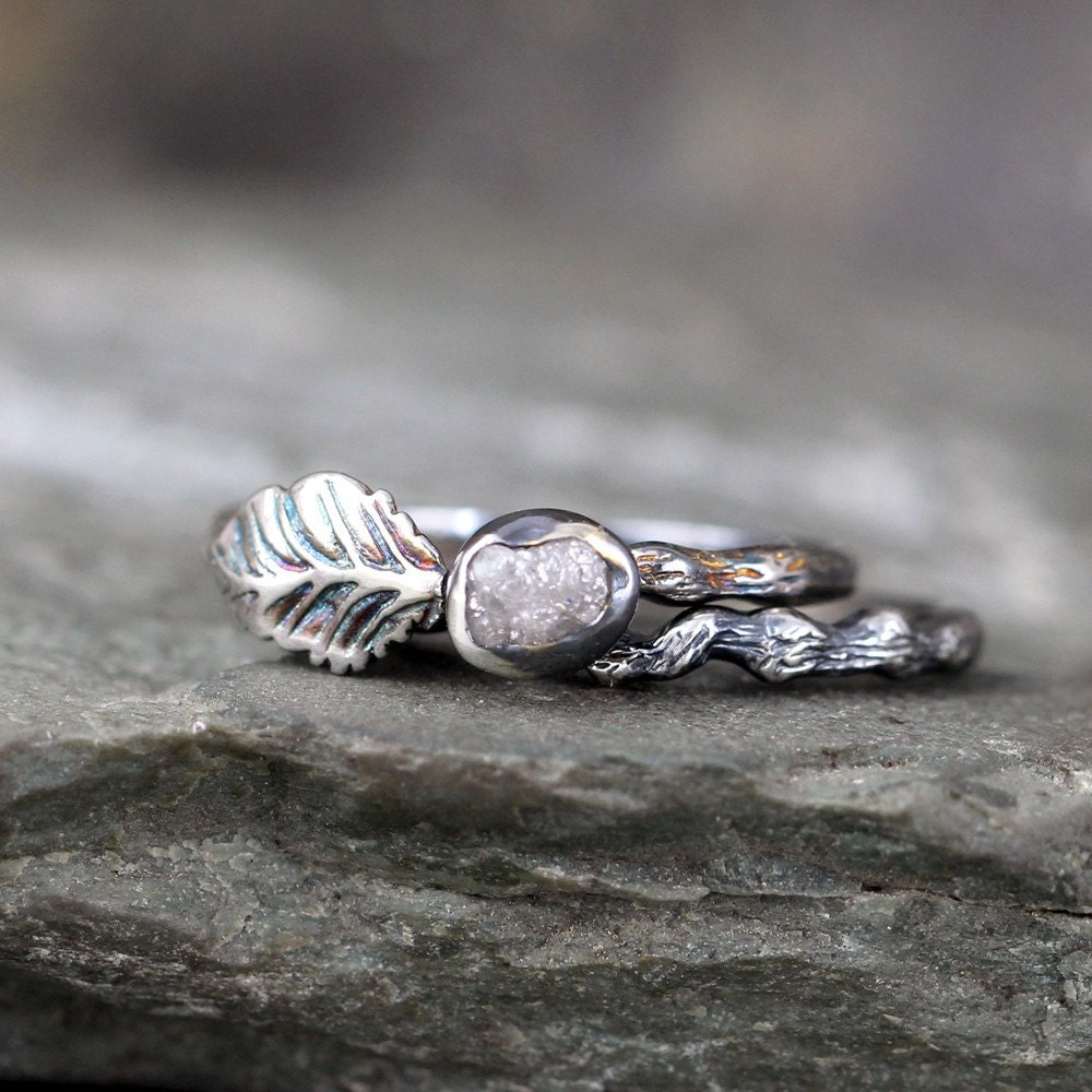 Twig Leaf Raw Diamond Engagement Ring Set Nature Inspired