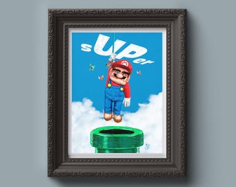 SUPER MARIO + UP Inspired Art Print - Painting, Up Movie, Vibrant, Dork and Nerd Gift, Wall Art, Game Art, Gift for Him, Gift for Her