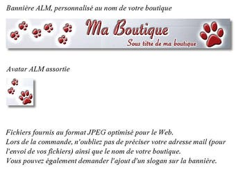 """Banner and avatar """"dog Paws"""" Burgundy version for shop"""