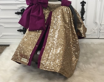 CAR SEAT COVER Car Seat Canopy Nursing Cover Carseat Ooak Sequin Infant Gold Sparkle