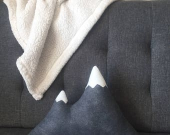 Mountain Pillow Wool Felt - Dark Grey with White Snow Caps -Rustic Decor Mountains Are Calling Cabin Dorm Woodland Rustic Nursery