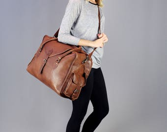 The Vagabond Large: Vintage style brown leather holdall duffle weekend bag cabin flight hospital unisex womens personalised monogram