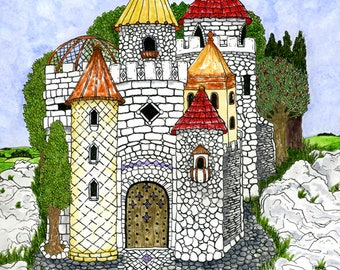 Fairy Tale Castle Personalized Family Name Flag Print Princess or Prince Wall Art for Nursery Children Mother's Day Gift