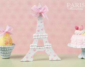 A Pink and White Eiffel Tower Miniature Decoration with Pink Silk Ribbon - 12th Scale
