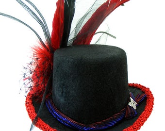 "Mini Top HAT ""Isabell"" Victorian Black Felt and Red Trim, Rose, Long Feathers Butterfly Charm, Burlesque, Cosplay, Role Play"