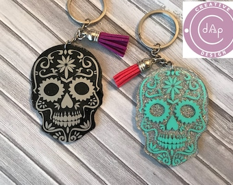 Sugar Skull Keychain, luggage tag, bag tag