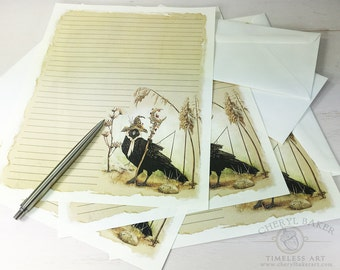 Crow Stationery Paper - Stationery Paper Set - Stationery Set - Writing Paper - Lined Paper - Writing Paper Stationery - Stationary Paper