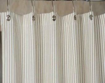 Brown Ticking Stripe Shower Curtain