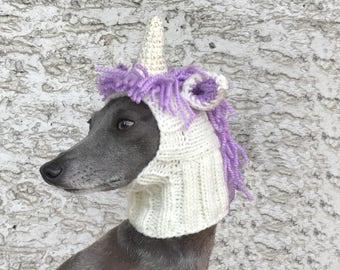 Unicorn Dog Hat / Unicorn Dog Snood / Knit Unicorn Dog Hat / Knit Unicorn Hat for Dog / Dog Hat / Hand Knit Dog Hat