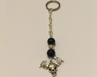 Silver key ring with Obsidian stones and Bat and Skull Charm