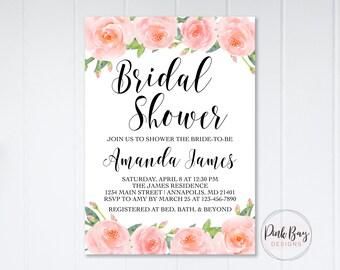 Floral Bridal Shower Invitation, Pink Watercolor Floral Bridal Shower Invitation, Bridal Shower Invite, Blush Bridal Shower, Floral Shower