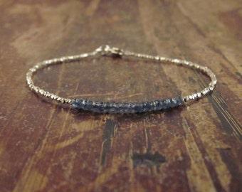 Sapphire Bracelet Sapphire Bracelets Sapphire Bead Bracelet September Birthstone Bracelet Gift for Women Beaded Bracelet Sapphire Jewelry