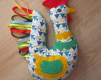 Plush rooster, fabric and fleece, very colorful french Rooster Crowing!