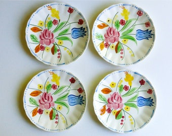 """Four Vintage 7-1/4"""" Blue Ridge Southern Potteries Floral Cake Plates, Made in USA. Perfect for a Vintage Tea Party, Gift or Styling Prop"""