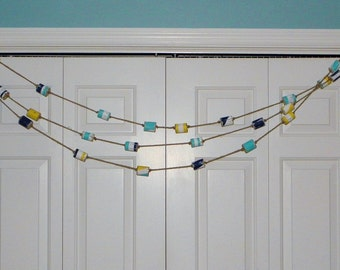 Painted Driftwood Buoys Garland, Beach Garland, Nautical Garland