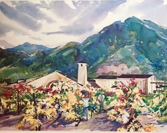 "Vintage Watercolor Art Print by Cecile Johnson - ""The Harvest, Robert Mondavi Winery""."