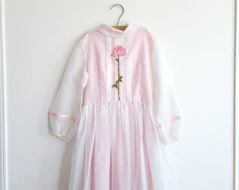 Vintage Pink and White Girl's Maxi Dress