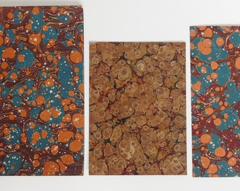 Antique Marbled Paper, 3 pieces for decoupage, craft, collage etc...