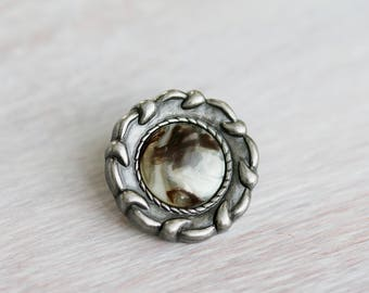 Antique Silver With Brown Marble Button Clasp