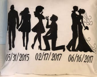 Timeline Silhouette Pillow