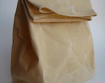 reusable waxed canvas lunch sack, xl