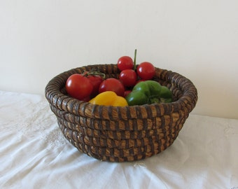 Antique French Rye Coiled Straw Basket Home Decor