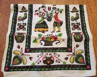 Vintage Scandinavian Print Linen Tea Towel