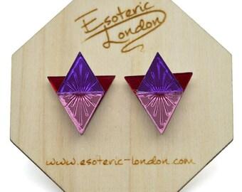 Sunburst large geometric stud earrings