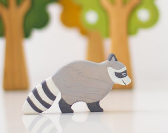 Wooden Racoon toy Wild animal toys Miniature animal figurines