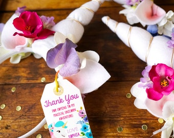 Unicorn Party Favor Tag - Glitter Unicorn Party Favor - Unicorn Favors - Instantly Download and Edit at home with Adobe Reader