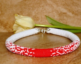 Necklace, Beaded Necklace, Necklace made of Czech beads, red and white Necklace