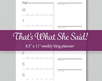 Blog Planner Printable - Socisl Mexia Planner - Weekly - Editable PDF - Standard Letter Size - Perpetual Calendar - Sassy Planners
