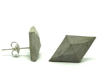 Concrete earrings diamond shape 10x18 mm