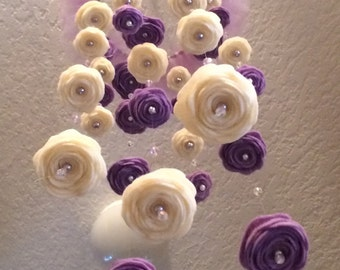 Purple and ivory baby mobile