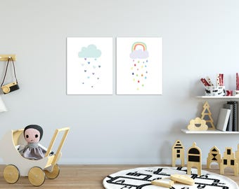 Rainbow Nursery - Rainbow Wall Art - Cloud Nursery - Cloud Nursery Decor - Cloud Wall Art - Nursery Decor - Nursery Wall Art - Baby Room
