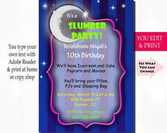 Pajamas party invite etsy slumber party invitation sleepover invitation pajama party invitation stars and moon party invitation solutioingenieria Gallery