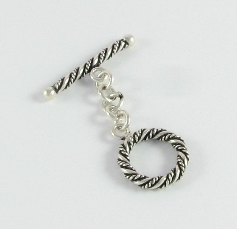 Thick Twisted Wire Design Bali Sterling Silver Toggle Clasp ...