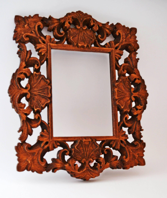 Wooden Photo Frame, Wood Picture Frame, Wedding Photo Frame, Carved ...