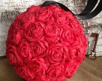 "Paper Rose Flower Pomander Hanging Kissing Ball Crepe - 10"""