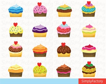Cute Cupcakes Set, Clip art, Party, Card, Food, Delicious, perfect for Printable, Scrapbooking.17 images, 300 dpi. Png files. Cupcake002