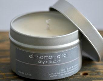 Cinnamon Chai Soy Candle Tin 4oz. - cinnamon soy candle - chai tea soy candle - food soy candle - fall soy candle - holiday soy candle