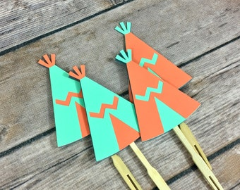 12 Tribal TeePee Cupcake Toppers, Tribal Toppers, TeePee Toppers, Tribal Party, Baby Shower