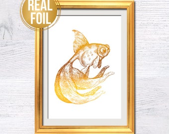Goldfish real foil print Goldfish gold foil poster Nautical wall decor Real foil decoration Kids room wall art Playground wall decor G310