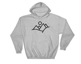 Mountain Sweatshirt, Hoodie, Minimal Mountains, Sunset Hoodie, Minimal Sweatshirt, Outdoor Hoodie, Hiking Hoodie, Minimal Clothing Design