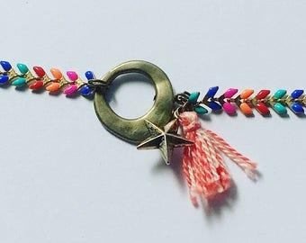 Multicolored Chevron and coral tassel chain bracelet