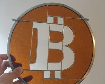 Bitcoin stained glass panel window