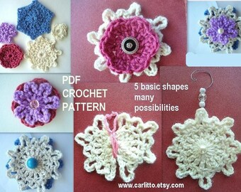 5 SHAPES, many Possibilities..Crochet Pattern  72.. See the photos for illustration. Instant download