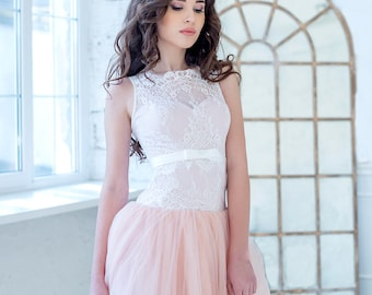 blush wedding dress,